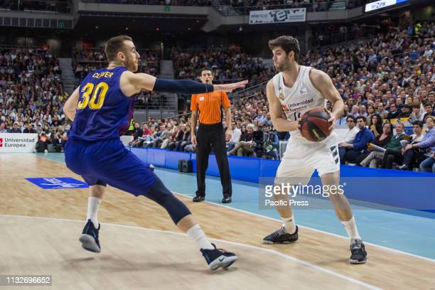 Santi Yusta during FC Barcelona Lassa victory over Real Madrid in Liga Endesa regular season game celebrated in Madrid at Wizink Center March 24th...