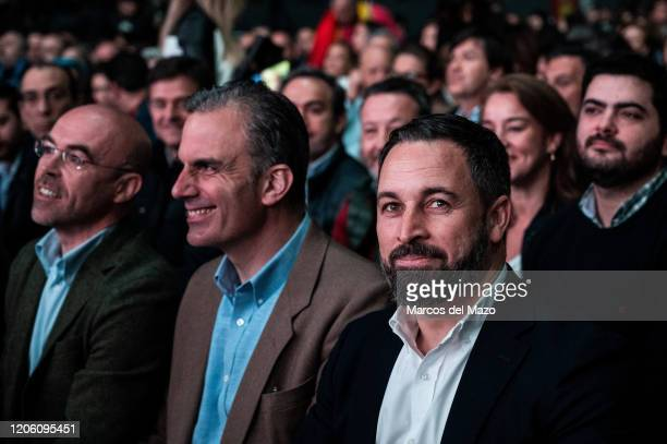 Santiago Abascal Javier Ortega Smith and Jorge Buxadé of farright party VOX during the 'Vistalegre III' rally coinciding with the International...