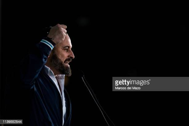 Santiago Abascal leader of far right wing party VOX during the closing campaign rally ahead of the general elections that will take place in Spain...