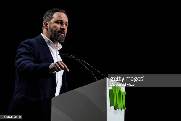 Santiago Abascal leader of farright party VOX speaking during the 'Vistalegre III' rally coinciding with the International Women's Day