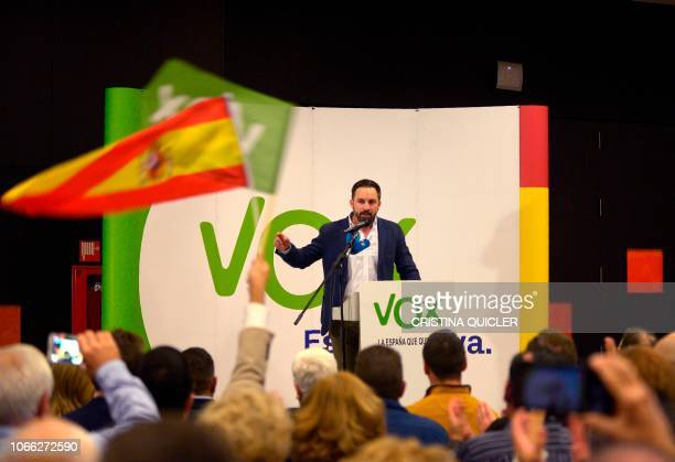 Santiago Abascal leader of Spain's farright party VOX gives a speech during a campaign meeting ahead of regional elections in Andalusia on November...