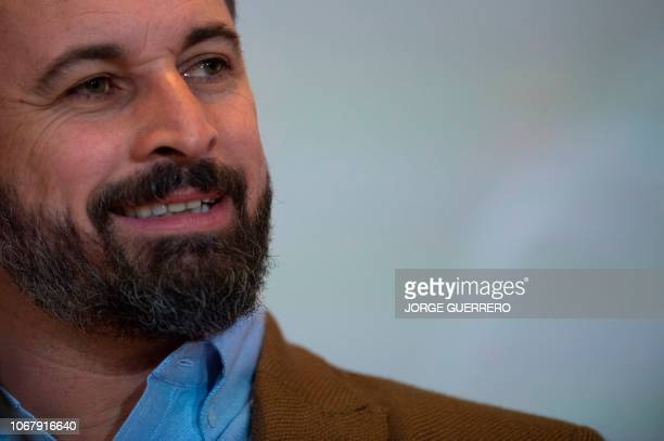 Santiago Abascal leader of Spain's farright party VOX gives a speech during a press conference after Andalusia regional election results in Sevilla...