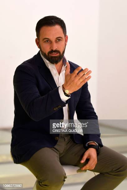 Santiago Abascal leader of Spain's farright party VOX gives an interview to AFP in Granada on November 26 2018 With a tough line on immigration and...