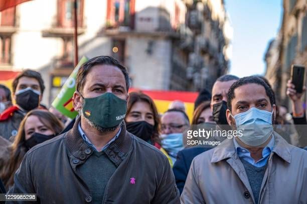 Santiago Abascal leader of the ultra-right political formation VOX and Ignacio Garriga , a VOX deputy and candidate for the presidency of Catalonia,...