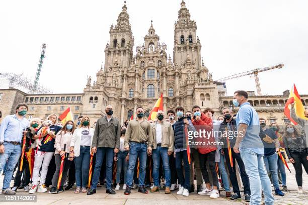 Santiago Abascal president of Vox on his arrival at the Plaza do Obradoiro after walking the last stage of the Way of St James and presenting the...