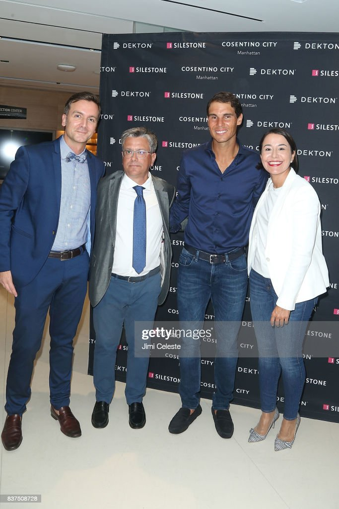Santiago Alfonso, Rafael Nadal, Massimo Ballucchi and Ana Granados attend an exclusive cocktail event with Cosentino at Cosentino City Manhattan on August 22, 2017 in New York City.