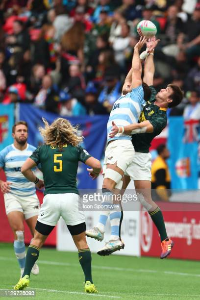 Santiago Alvarez of Argentina leaps for the ball against Impi Visser of South Africa during Quarter Final action on day 2 of the 2019 Canada Sevens...