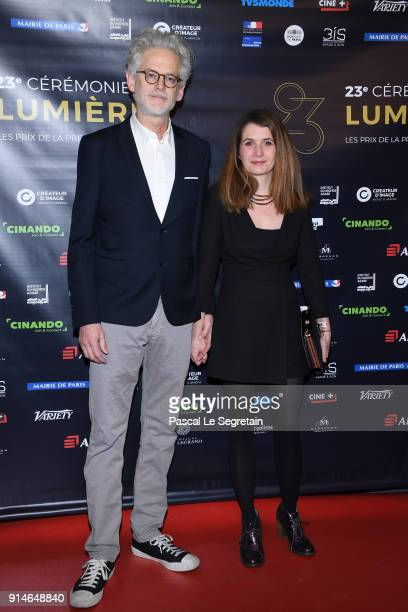 Santiago Amigorena and a guest attend the 23rd Lumieres Award Ceremony at Institut du Monde Arabe on February 5 2018 in Paris France