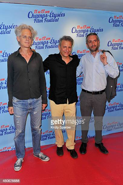 Santiago Amigorena Jonathan Nossiter and Giacomo Rossi attend the Resistance Naturelle Paris Premiere during Day 4 of the Champs Elysees Film...