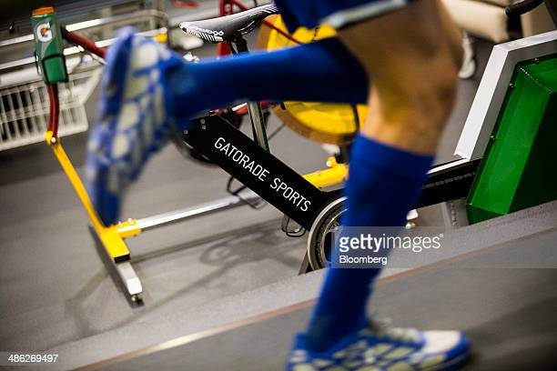 Santiago Ardila a 19yearold postgraduate student athlete from Mexico trains on a treadmill that determines how many calories an athlete uses at...