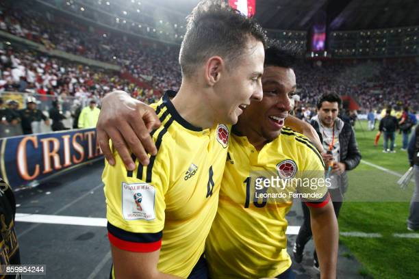 Santiago Arias and Frank Fabra of Colombia celebrate the qualifying to the World Cup Russia 2018 after the match between Peru and Colombia as part of...