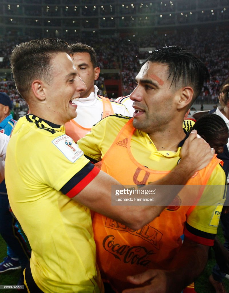 Santiago Arias and Radamel Falcao of Colombia celebrate the qualifying to the World Cup Russia 2018 after a match between Peru and Colombia as part of FIFA 2018 World Cup Qualifiers at National Stadium on October 10, 2017 in Lima, Peru.