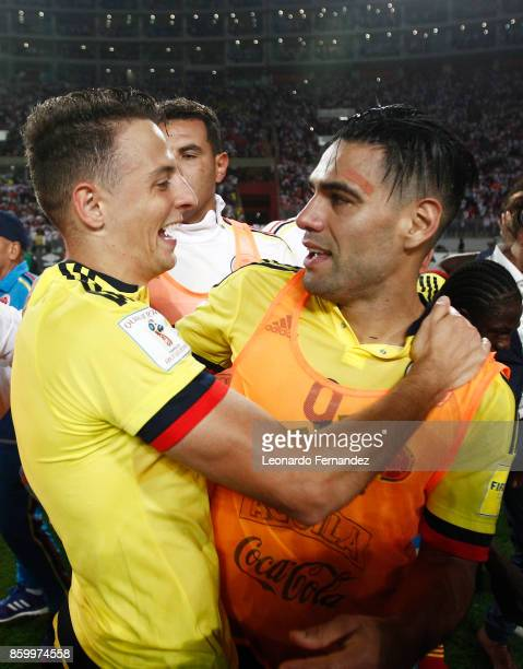 Santiago Arias and Radamel Falcao of Colombia celebrate the qualifying to the World Cup Russia 2018 after a match between Peru and Colombia as part...