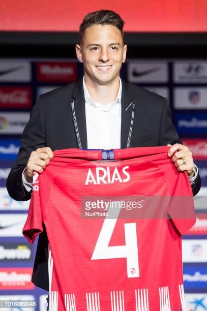 Santiago Arias during his presentation as new Atletico de Madrid players at Wanda Metropolitano in Madrid Spain August 13 2018