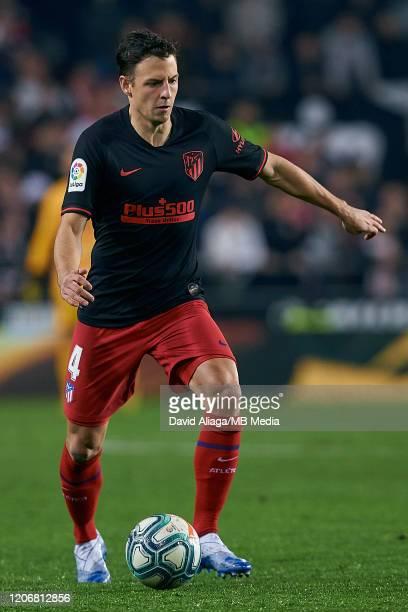 Santiago Arias Naranjo of Atletico de Madrid in action during the Liga match between Valencia CF and Club Atletico de Madrid at Estadio Mestalla on...