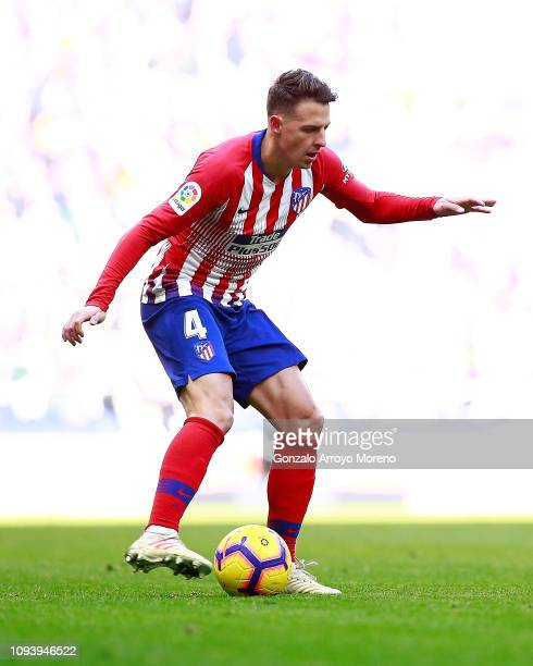 Santiago Arias of Atletico de Madrid controls the ball during the La Liga match between Club Atletico de Madrid and Levante UD at Wanda Metropolitano...