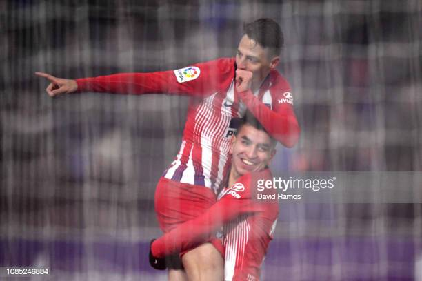 Santiago Arias of Atletico Madrid celebrates after scoring his sides second goal during the La Liga match between SD Huesca and Club Atletico de...