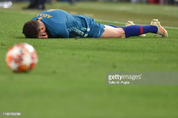 Santiago Arias of Atletico Madrid shows his dejection during the UEFA Champions League Round of 16 Second Leg match between Juventus and Club de...