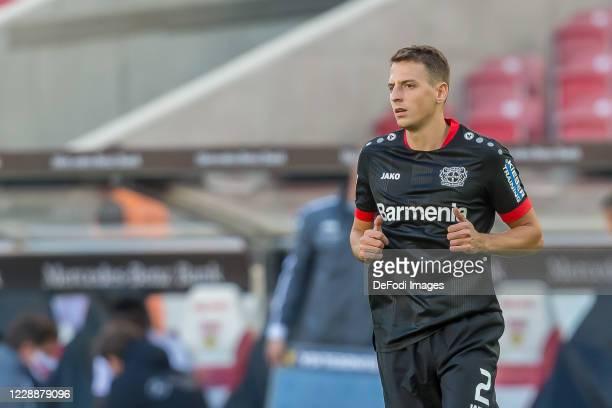 Santiago Arias of Bayer 04 Leverkusen Looks on during the Bundesliga match between VfB Stuttgart and Bayer 04 Leverkusen at Mercedes-Benz Arena on...