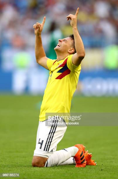 Santiago Arias of Colombia celebrates following his sides victory in the 2018 FIFA World Cup Russia group H match between Senegal and Colombia at...