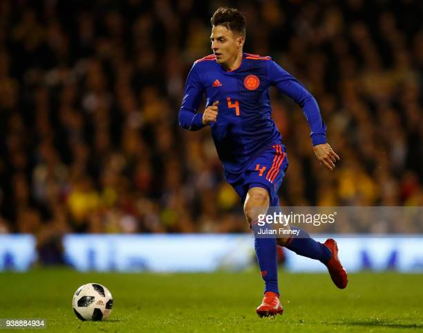 Santiago Arias of Colombia during the International Friendly match between Australia and Colombia at Craven Cottage on March 27 2018 in London England