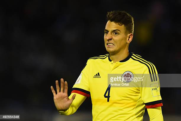 Santiago Arias of Colombia gestures during a match between Uruguay and Colombia as part of FIFA 2018 World Cup Qualifier at Centenario Stadium on...