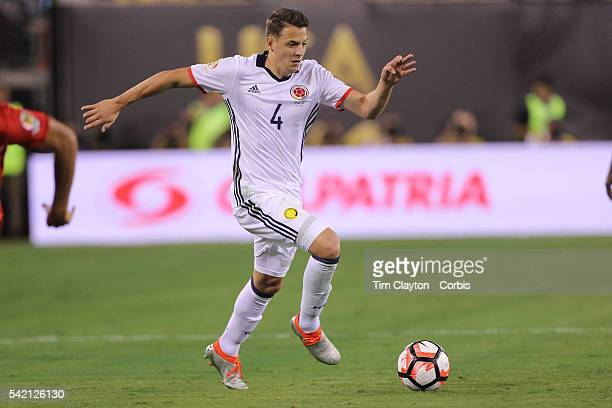 Santiago Arias of Colombia in action during the Colombia Vs Peru Quarterfinal match of the Copa America Centenario USA 2016 Tournament at MetLife...