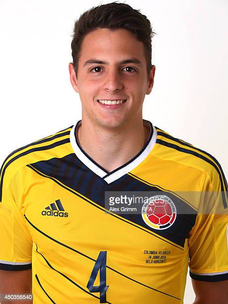 Santiago Arias of Colombia poses during the official FIFA World Cup 2014 portrait session on June 9 2014 in Sao Paulo Brazil