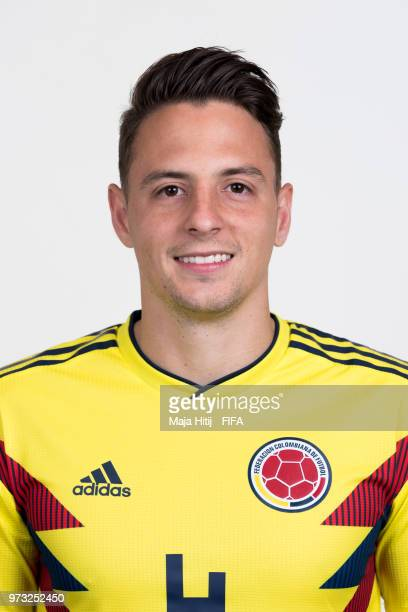 Santiago Arias of Colombia poses for a portrait during the official FIFA World Cup 2018 portrait session at Kazan Ski Resort on June 13 2018 in Kazan...