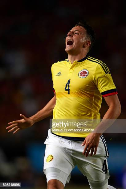 Santiago Arias of Colombia reacts during the international friendly match between Spain and Colombia at Nueva Condomina Stadium on June 7 2017 in...