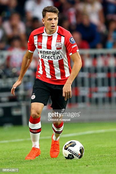 Santiago Arias of Eindhoven runs with the ball during the friendly match between FC Eindhoven and PSV Eindhoven at Philips Stadium on July 26 2016 in...