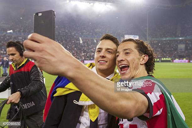 Santiago Arias of PSV Andres Guardado of PSV during the Dutch Eredivisie match between PSV Eindhoven and SC Heerenveen at the Phillips stadium on...