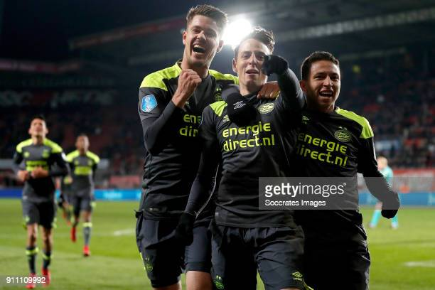 Santiago Arias of PSV celebrates 0-2 with Marco van Ginkel of PSV, Mauro Jaqueson Junior Ferreira dos Santos of PSV during the Dutch Eredivisie match...
