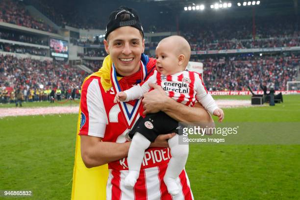 Santiago Arias of PSV celebrates the championship during the PSV trophy celebration at the Philips Stadium on April 15 2018 in Eindhoven Netherlands