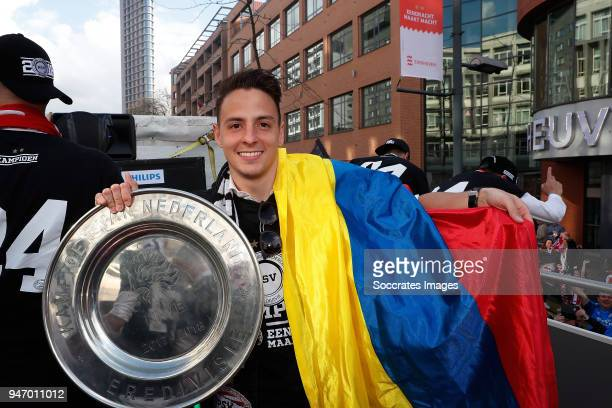 Santiago Arias of PSV during the champions parade during the PSV champions parade at the City of Eindhoven on April 16 2018 in Eindhoven Netherlands