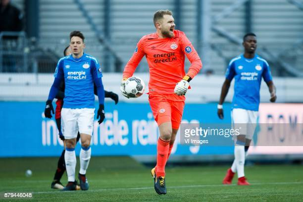 Santiago Arias of PSV goalkeeper Jeroen Zoet of PSV Nicolas IsimatMirin of PSV during the Dutch Eredivisie match between sbv Excelsior Rotterdam and...