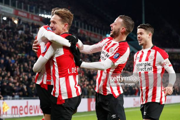 Santiago Arias of PSV Luuk de Jong of PSV Bart Ramselaar of PSV Marco van Ginkel of PSV during the Dutch Eredivisie match between PSV v ADO Den Haag...