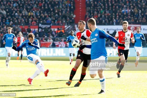 Santiago Arias of PSV Sofyan Amrabat of Feyenoord during the Dutch Eredivisie match between Feyenoord v PSV at the Stadium Feijenoord on February 25...
