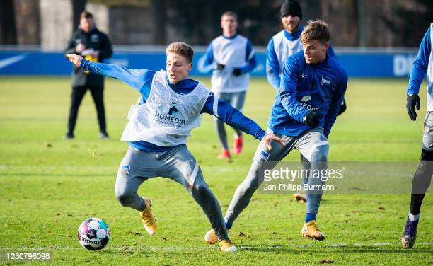 Santiago Ascacibar and Maximilian Mittelstaedt of Hertha BSC during the training session at Schenckendorffplatz on January 26, 2021 in Berlin,...
