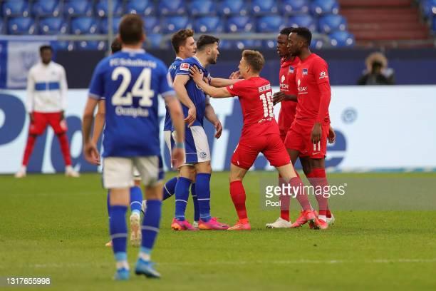 Santiago Ascacibar of Hertha BSC clashes with Sead Kolasinac of FC Schalke 04 during the Bundesliga match between FC Schalke 04 and Hertha BSC at...
