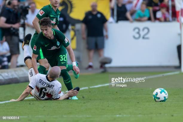 Santiago Ascacibar of Stuttgart and Marco Friedl of Bremen battle for the ball during the Bundesliga match between VfB Stuttgart and SV Werder Bremen...