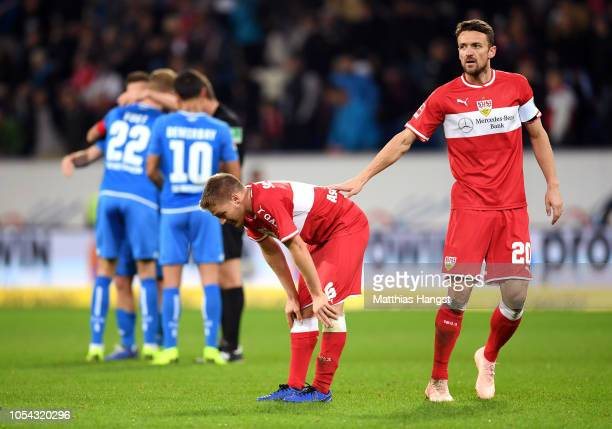 Santiago Ascacibar of VfB Stuttgart and Christian Gentner of VfB Stuttgart look dejected after the Bundesliga match between TSG 1899 Hoffenheim and...