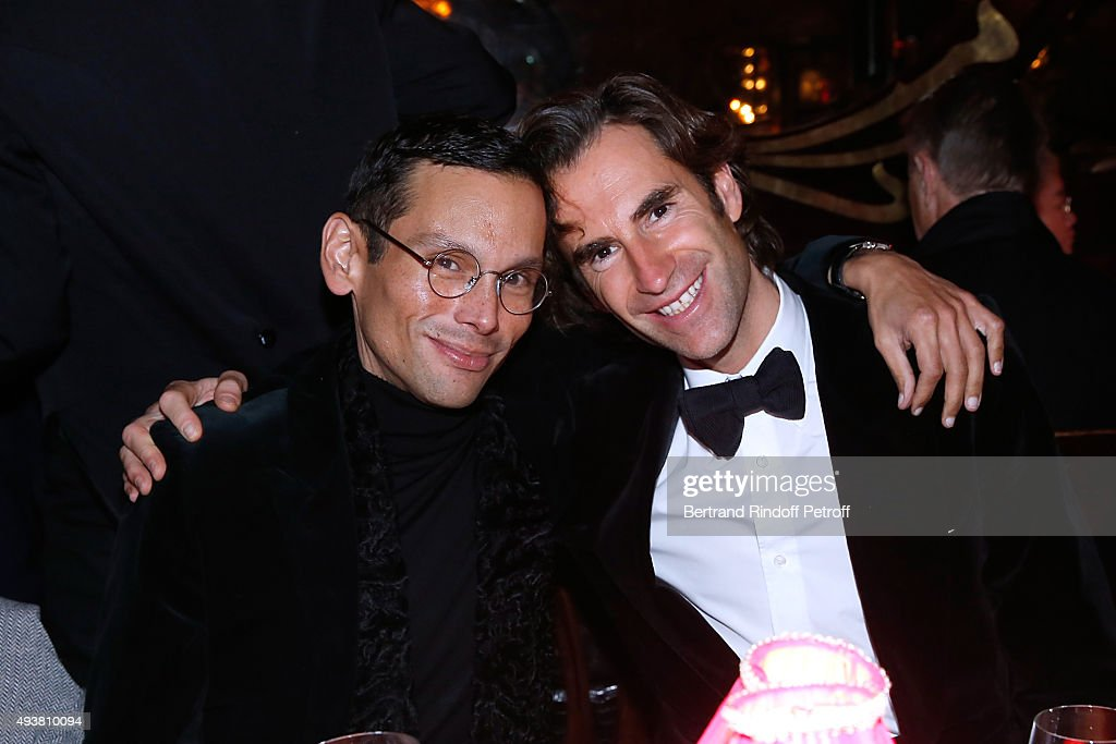 Santiago Barberi Gonzales and Pierre Pellegry attend the Dinner in honor of the Artist Adrian Ghenie organized by Thaddaeus Ropac at Maxim's on October 22, 2015 in Paris, France.