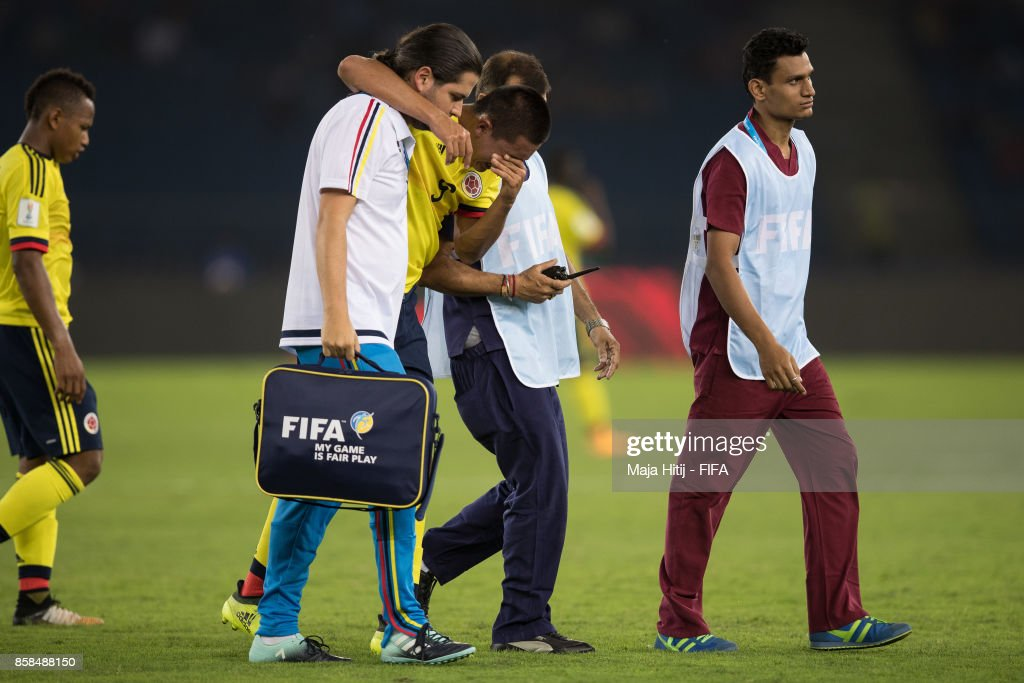 Santiago Barrero of Columbia leaves the pitch during the FIFA U-17 World Cup India 2017 group A match between Colombia and Ghana at Jawaharlal Nehru Stadium on October 6, 2017 in New Delhi, India.