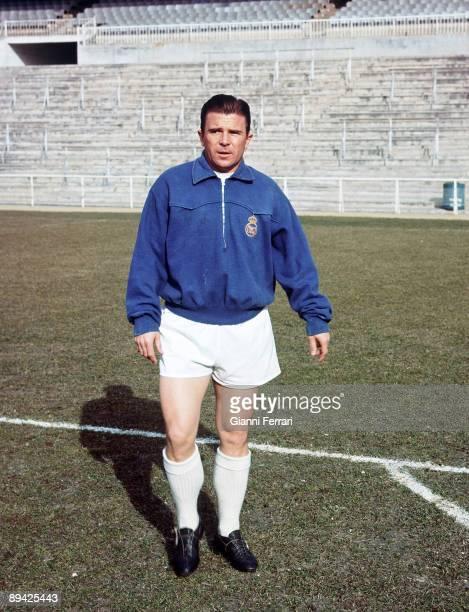 Santiago Bernabeu Stadium, Madrid . Ferenc Puskas during a training.