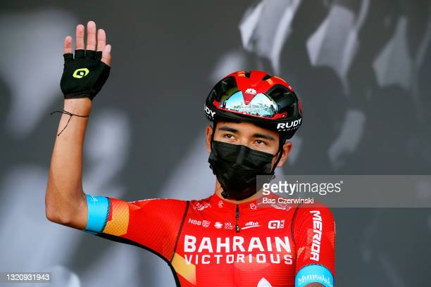Santiago Buitrago Sanchez of Colombia and Team Bahrain Victorious at start in Brioude City during the 73rd Critérium du Dauphiné 2021, Stage 2 a...