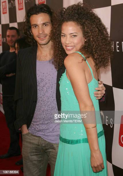 Santiago Cabrera and Tawny Cypress during The Cast Of Heroes Celebrate's Production Wrap Of Season One at The Cabana Club in Hollywood California...