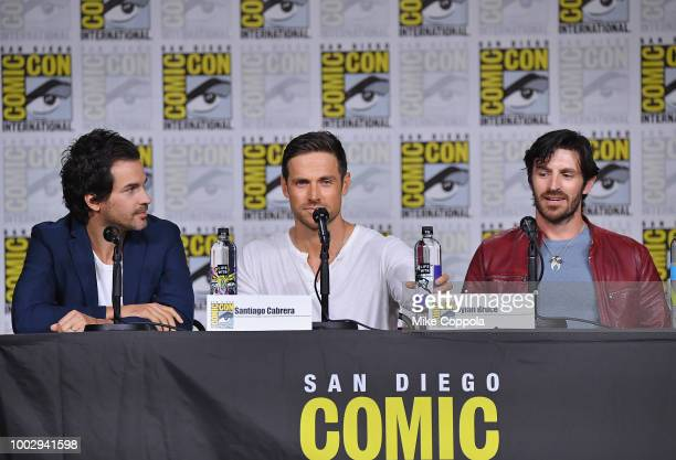 Santiago Cabrera Dylan Bruce and Eoin Macken speak onstage at Entertainment Weekly's Brave Warriors Panel during ComicCon International 2018 at San...