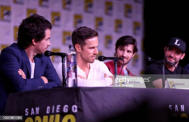 Santiago Cabrera Dylan Bruce Eoin Macken and Tom Ellis attend Entertainment Weekly Brave Warriors panel during San Diego ComicCon 2018 at the San...