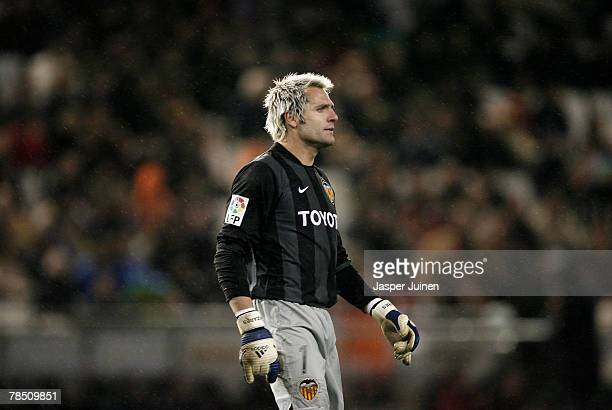 Santiago Canizares of Valencia reacts during the La Liga match between Valencia and Barcelona at the Mestalla Stadium on December 15 2007 in Valencia...